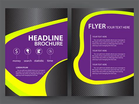 flyer design needed листовка дизайн брошюры с темный фиолетовый фон векторный