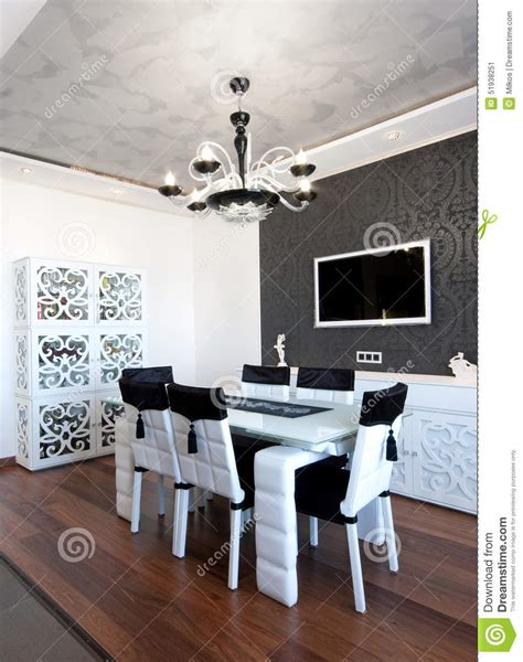black and white dining room ideas modern dining room in black and white colors stock image