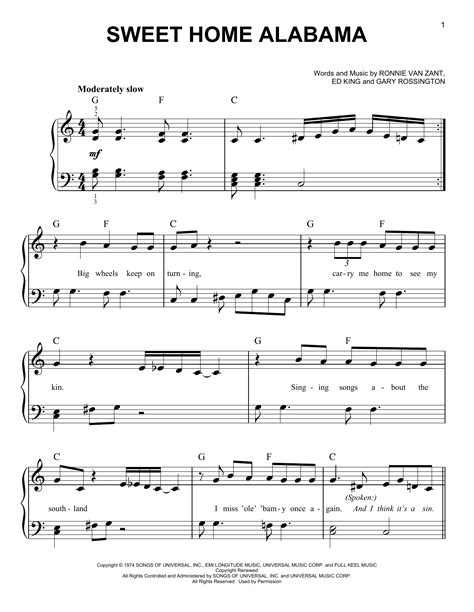sweet home sheets sweet home alabama sheet by lynyrd skynyrd easy piano 93847