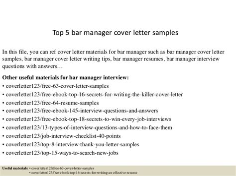 Bar Manager Cover Letter by Top 5 Bar Manager Cover Letter Sles