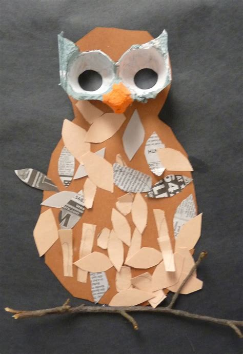 Paper Owls - paper scissors glue mixed media owls