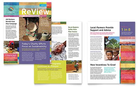 illustrator newsletter templates humanitarian aid organization newsletter template design