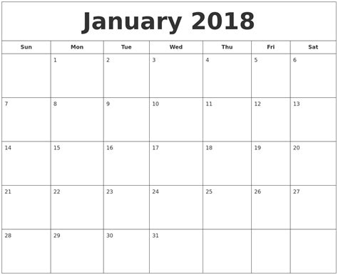 january calendar template january 2018 printable calendar calendar template excel