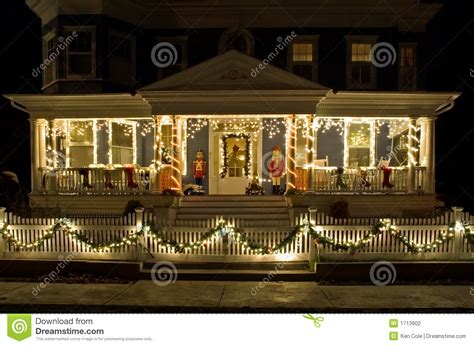 christmas lights   porch stock photo image