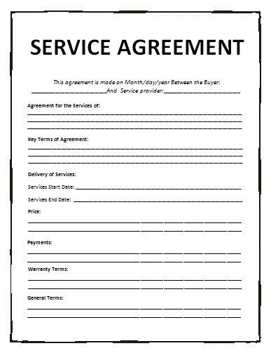 free business service template agreement templates free word templates general
