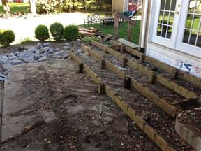 how to build a deck on concrete patio remove deck and concrete patio replace with sted