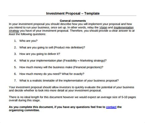 Investor Business Template 18 Investment Proposal Sles Sle Templates
