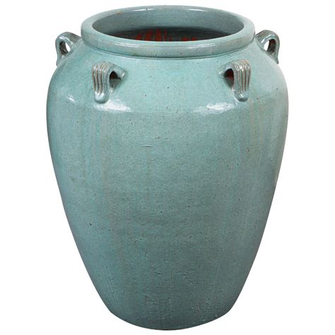 Vase Styles by Monumental Hora Style Vase With Glossy Jade Glaze At