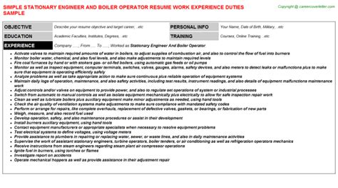 stationary engineer resume sles velvet