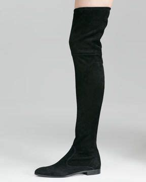 prada suede flat thigh high boot black on shopstyle