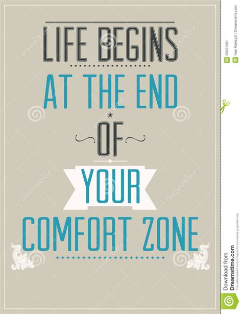 The Comfort by Poster With Motivational Slogan Stock Image Image 33531301