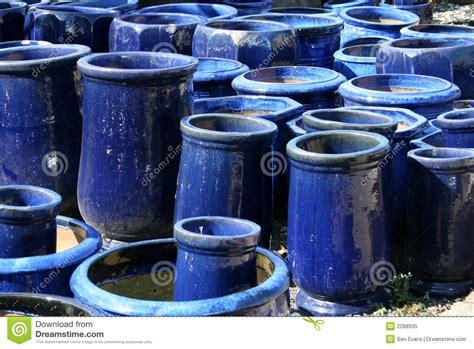 Blue Garden Pots Blue Garden Pots Royalty Free Stock Photo Image 2288935