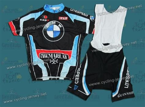 2012 litespeed bmw black cycling jersey and bib shorts set