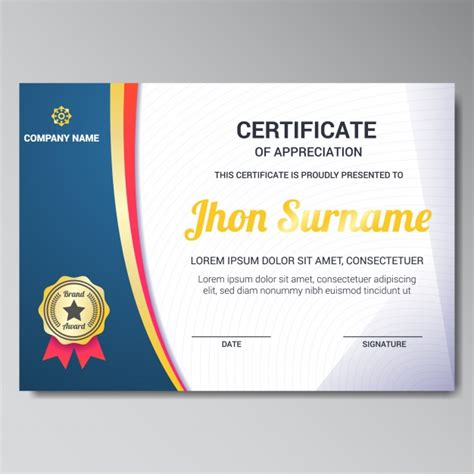 certificate layout vector certificate template design vector free download