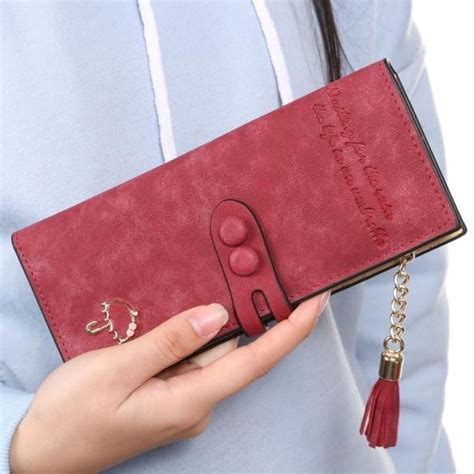 Trifold Wallet With Tassel synthetic leather card holder trifold