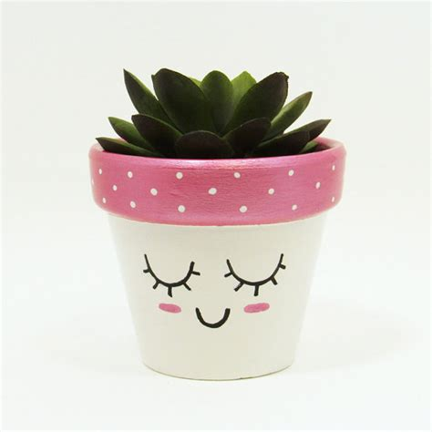 cute planters succulent planter terracotta pot cute face by