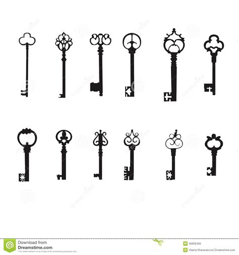 vector keys silhouette set antique keys stock vector