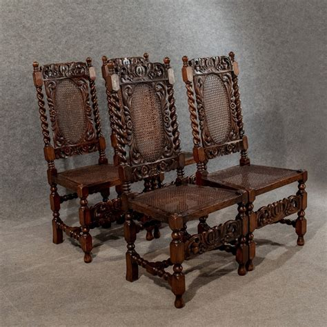 Jacobean Dining Chairs Antique Set Of 4 Jacobean Dining Chairs Revival Bergere Barley Twist C1890 461908