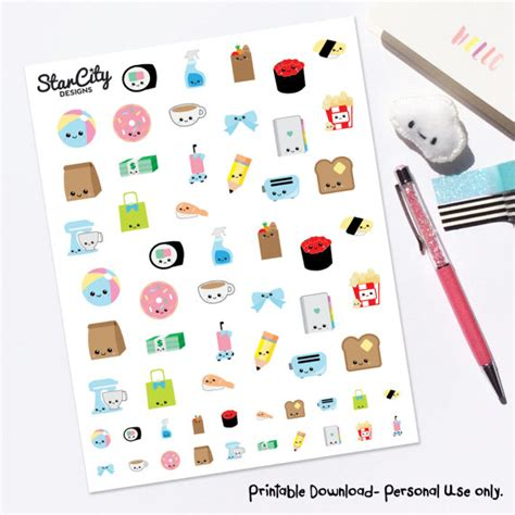 printable kawaii planner stickers printable kawaii stickers kawaii planner stickers any