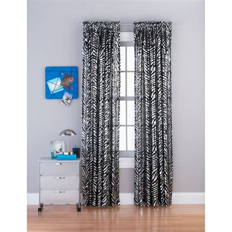 zebra print curtains walmart zebra foil sheer curtain panel walmart com