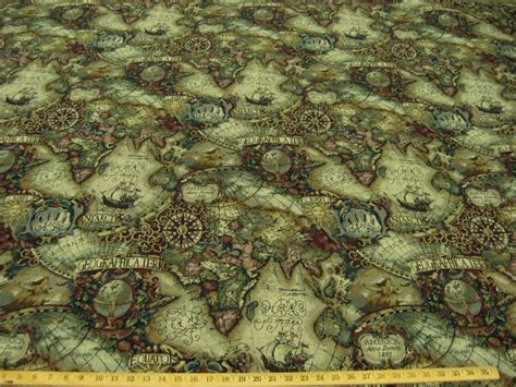 Collection of magellan s quest old world map upholstery fabric multi magellan old world map tapestry uph fabric jewel ft706 ebay gumiabroncs Image collections