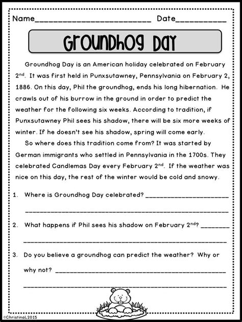 groundhog day questions 17 best ideas about comprehension questions on