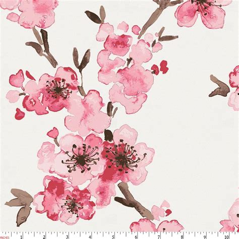 Pink Cherry Blossom Fabric By The Yard Pink Fabric Cherry Blossoms Designs