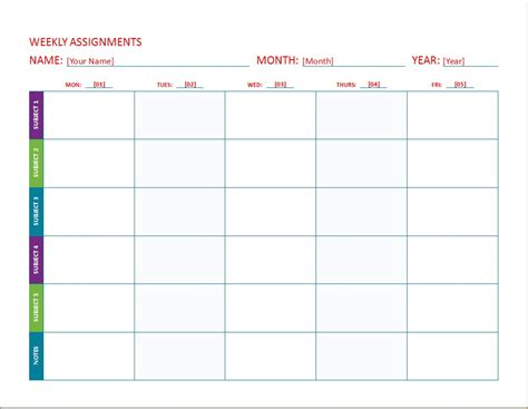 weekly assignment calendar templates word excel templates