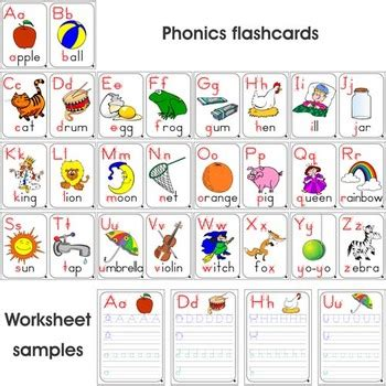 Book Toys Flash Card phonics set 26 colored flashcards 26 colored