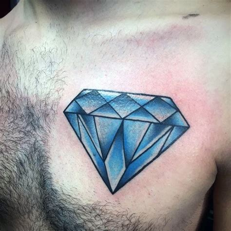 amazing blue diamond tattoo on side chest