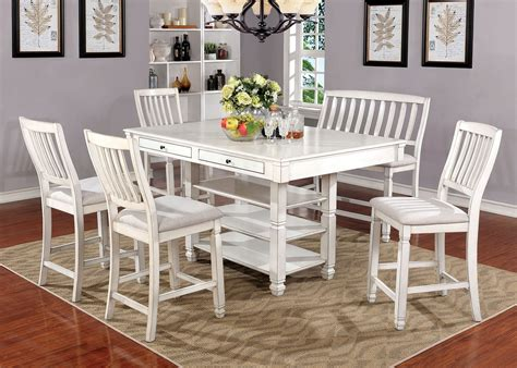 white counter height dining table kaliyah transitional style antique white finish 6pc