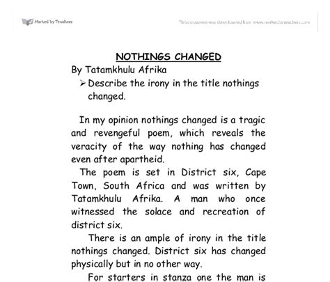 Nothings Changed Poem Essay nothing s changed essay