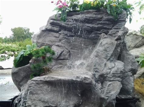 artificial rock waterfall pondless yard rock fountain