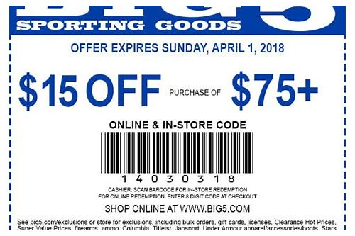 big 5 coupon 2018 in store