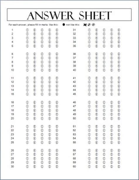 50 question answer sheet template printable quotes answersheet quotesgram