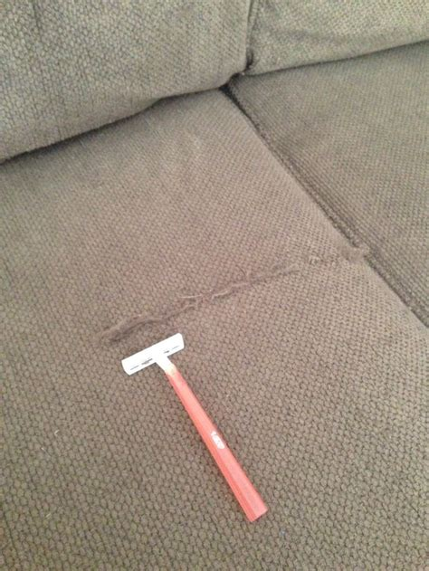 remove pilling from couch de pill a fabric sofa after shaving my couch it looks