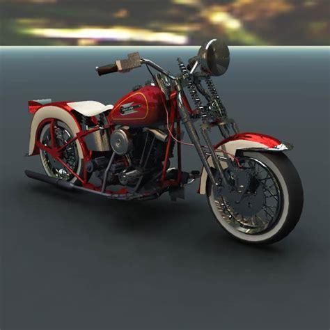 Harley Davidson Types by Harley Davidson El Type 1936 Poser Vue 3d Model Rigged