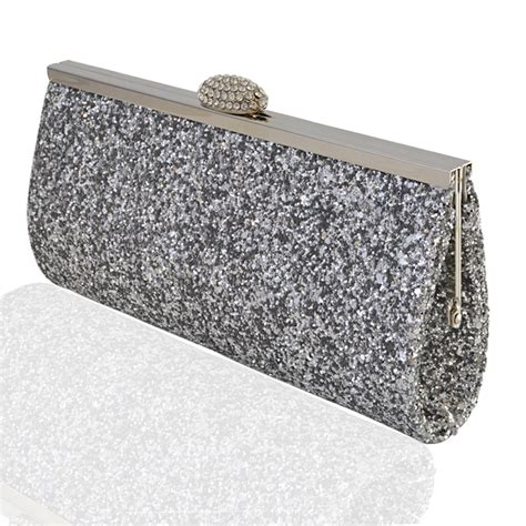 Gold Silver Clutch new womens sparkly glitter clutch bag silver gold bridal
