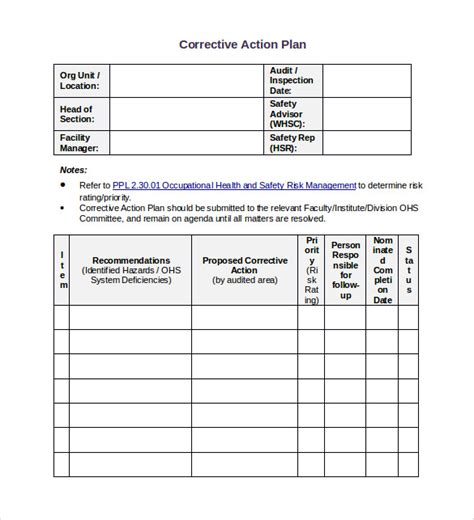 plan of correction template sle corrective plan template 12 documents in