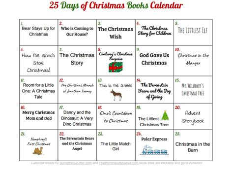printable calendar review 25 days of christmas books with printable calendar