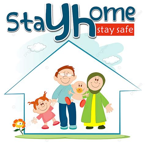 stayhome stay safe family children cartoon png