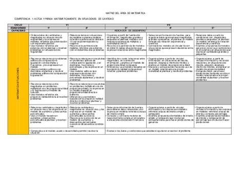 dcn 2015 minedu capacidades y competencias del area de arte matriz de competencias y capacidades dcn 2015 matematica sec
