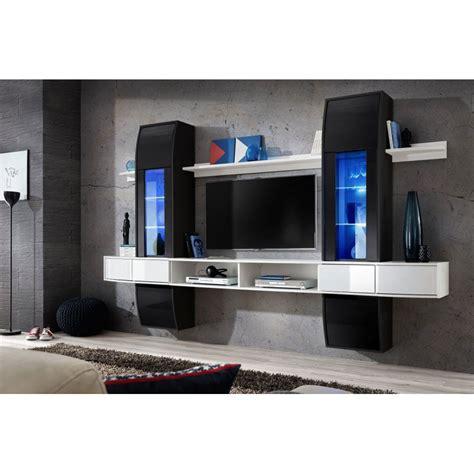 meuble tv mural design comet  noir blanc