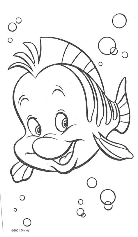 free ariel and flounder coloring pages