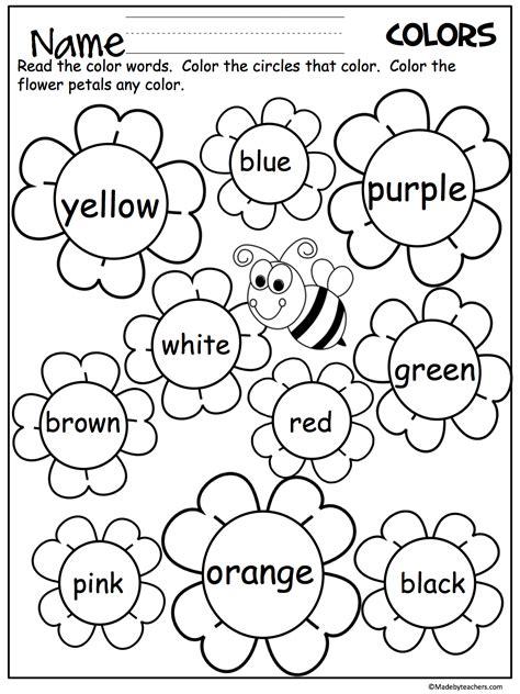 color words flower color words worksheet daycare