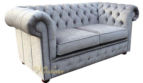 chesterfield 2 seater settee perla illusions grey velvet