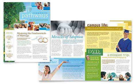 Community Church Newsletter Template Design Christian Newsletter Templates