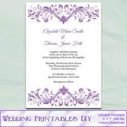 Downloadable Wedding Invitations Items Similar To Wisteria Wedding Invitation Template Diy Lavender Purple Bridal Shower Party