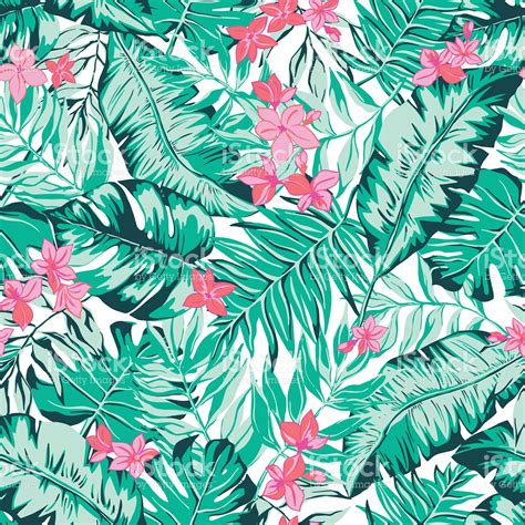 tropical pattern background free vector seamless bright green tropical pattern with leaves