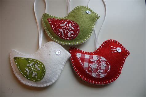 felt bird christmas ornaments set of 3